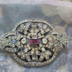 Large Rhinestone and Marcasite Brooch